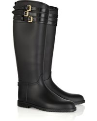 Burberry Black Buckle-embellished Rubber Boots