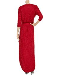 Halston Red Beaded Wrap-effect Maxi Dress