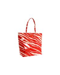 kate spade new york | Red Daycation Bon Shopper Zebra-print Tote | Lyst