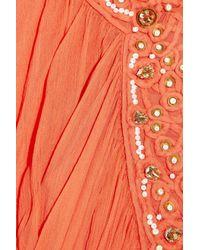 Temperley London - Orange Long Amberley Embellished Crepe Kaftan - Lyst
