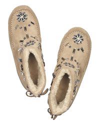 Tory Burch Natural Embellished Suede Moccasin Boots