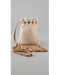 Club Monaco Natural Kristin Crochet Cross Body Bag