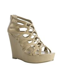 BCBGeneration | Natural Warm Cream Strappy Leather Jara Wedge Sandals | Lyst