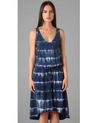 C&C California - Blue Tie Dye Stripe Dress - Lyst