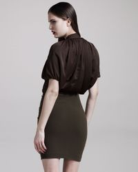 Givenchy Brown Ruched Ruffle-front Dress