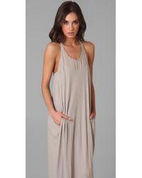Raquel Allegra Gray Frayed Cotton-gauze Maxi Dress