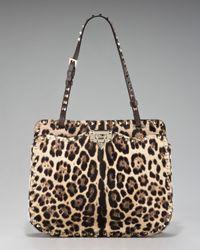 Valentino | Multicolor Rockstud Leopard-print Calf Hair Shoulder Bag | Lyst