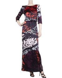 Tibi | Red Forest-print Silk Maxi Dress | Lyst