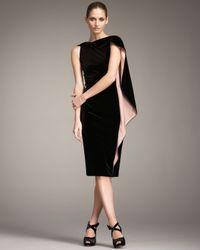 Giorgio Armani | Black Cape Sleeve Velvet Dress | Lyst