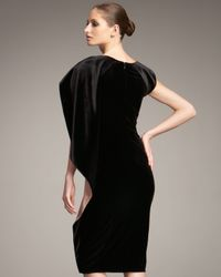 Giorgio Armani - Black Cape Sleeve Velvet Dress - Lyst