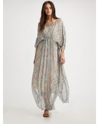 The Addison Story - Brown Paisley Silk Caftan - Lyst