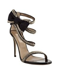Valentino | Metallic Navy Chain Link Trimmed Suede Bow Detail Sandals | Lyst