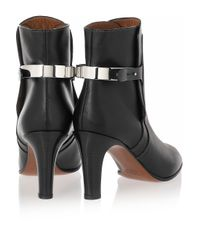Chloé Black Tucson Leather and Metal Ankle Boots
