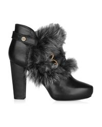 Donna Karan Black Shearling-trimmed Leather Ankle Boots