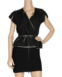 Marc Jacobs Black Animal-embossed Silk-blend Satin Wrap-blouse
