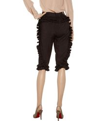 Marc Jacobs Brown Ruffle-trimmed Cropped Linen-blend Pants