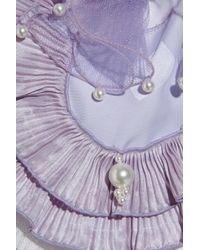 Marc Jacobs Purple Ruffled Pearl-embellished Satin Top