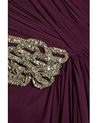 Marchesa Purple Embellished Silk-chiffon Gown