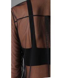 Alexander Wang Black Mesh Shirt with Leather Combo
