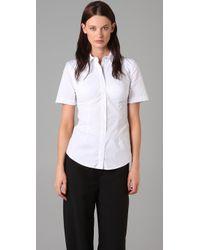 Alexander Wang Short Sleeve Bustier Shirt in White