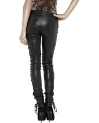 JOSEPH - Black Harley Lace-up Leather Pants - Lyst