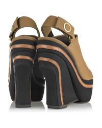 Marni | Brown Canvas Wedge Slingback Clogs | Lyst