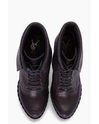 Saint Laurent - Black Coleen Lace-up Boots - Lyst