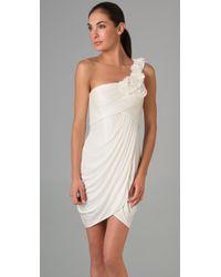 BCBGMAXAZRIA White One-shoulder Petal Rosette Dress