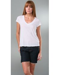 James Perse | White Short Sleeve Relaxed V-neck | Lyst