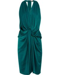 Lanvin | Blue Draped Washed-satin Halterneck Dress | Lyst