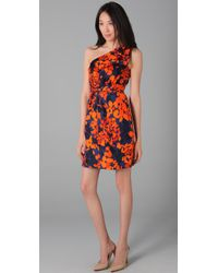 MILLY | Orange Neves Printed Silk One-shoulder Dress | Lyst