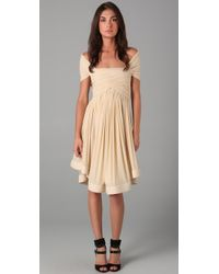 Plein Sud | Natural Cap Sleeve Ruched Dress | Lyst