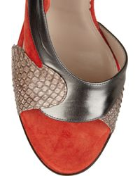 Reed Krakoff Brown Snakeskin and Leather Sandals
