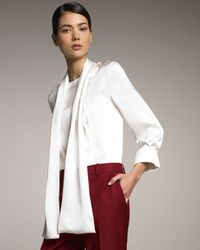 Stella McCartney | White Necktie Silk Blouse | Lyst