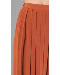 Tibi - Brown Long Pleated Skirt - Lyst