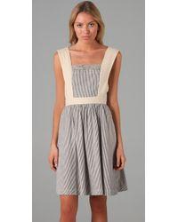 Twenty8Twelve | Blue Bat Striped Cotton and Linen blend Dress | Lyst