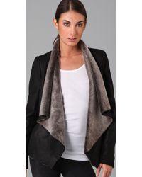 VINCE | Black Shearling Cascade Jacket | Lyst