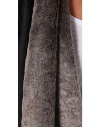 Vince - Black Shearling Cascade Jacket - Lyst