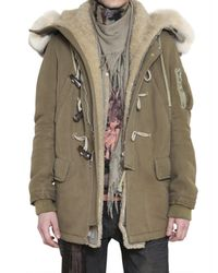 Balmain | Green Racoon Fur Parka for Men | Lyst