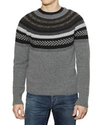 Burberry Prorsum Gray Fair Isle Knit Sweater for men