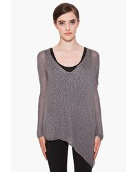 Helmut Lang | Gray Grey Loose Knit Silk Asymmetrical Sweater | Lyst