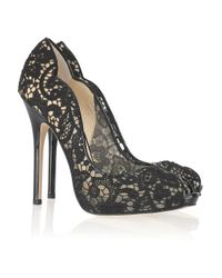 Jimmy Choo | Black Faith Lace and Patent-leather Pumps | Lyst