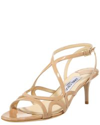Jimmy Choo | Natural Strappy Patent Sandal | Lyst