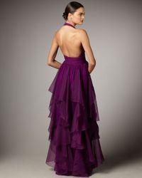 Notte by Marchesa   Purple Cascading Halter Gown   Lyst