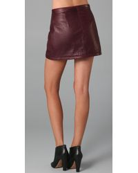 A.L.C.   Red Daltrey Leather Skirt   Lyst