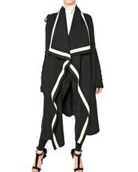 Alexander McQueen   Black Long Two-tone Wool Cardigan   Lyst