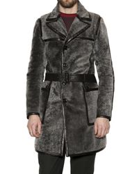 Burberry Prorsum | Gray Silver Shearling Coat for Men | Lyst