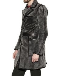 Burberry Prorsum - Gray Silver Shearling Coat for Men - Lyst