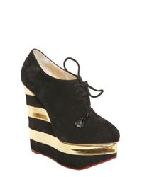 Charlotte Olympia Black Martha in Stripes Suede and Leather Wedges