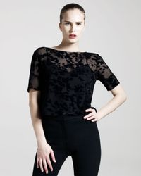 Cushnie et Ochs | Black Burnout Velvet Top | Lyst